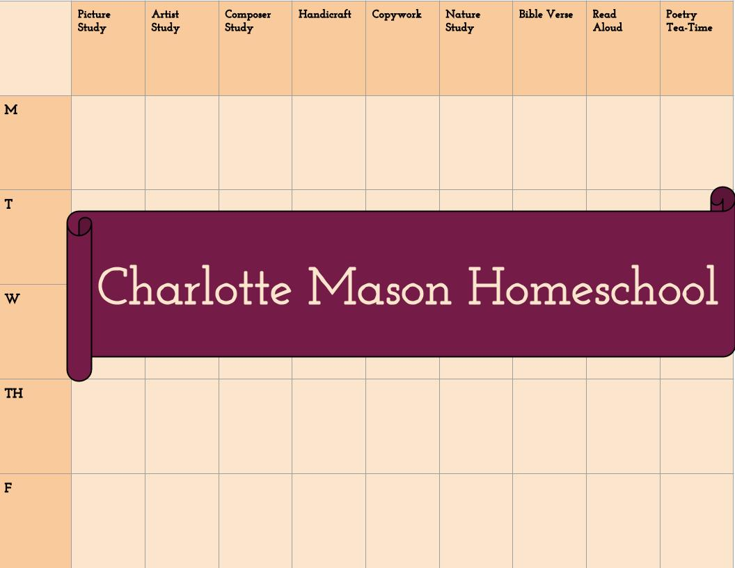 charlotte mason homeschooling weekly planner