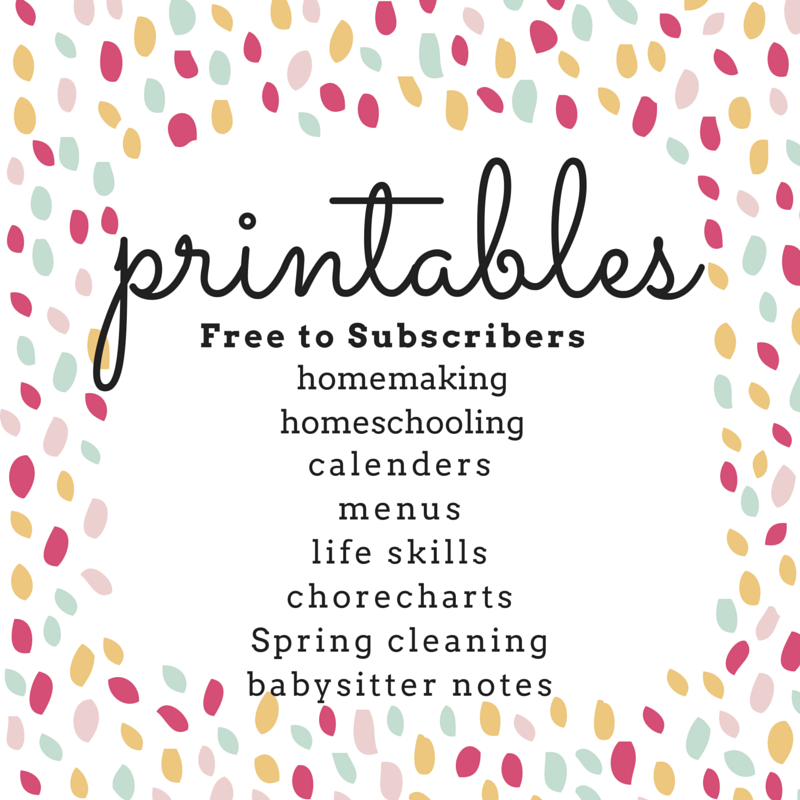 homeschooling homemaking printables