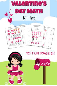Math Printables K-1 Valentine's Day