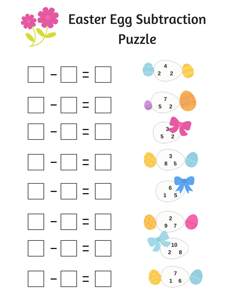 Easter Math Worksheets {Printable}