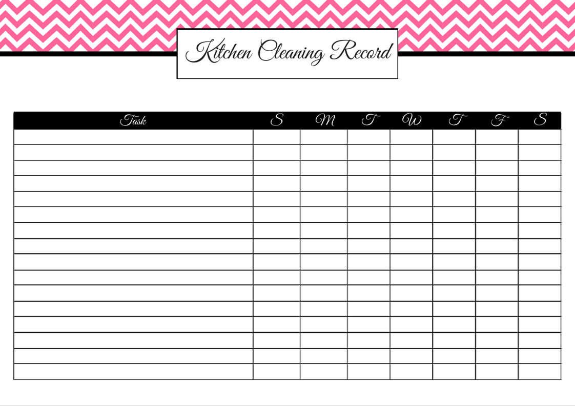 Pink Kitchen Cleaning Record (blank)