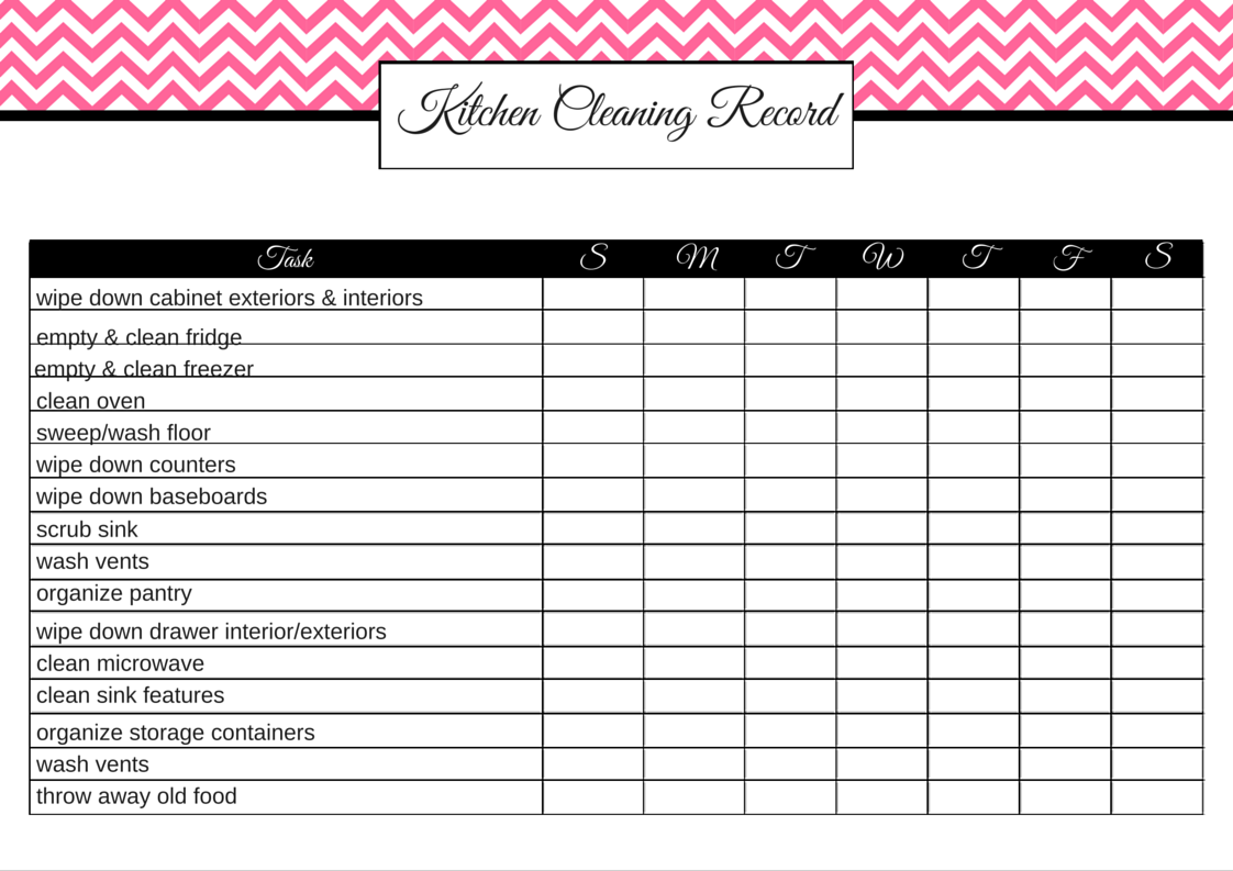 Pink Kitchen Cleaning Record (filled in), Free Printables