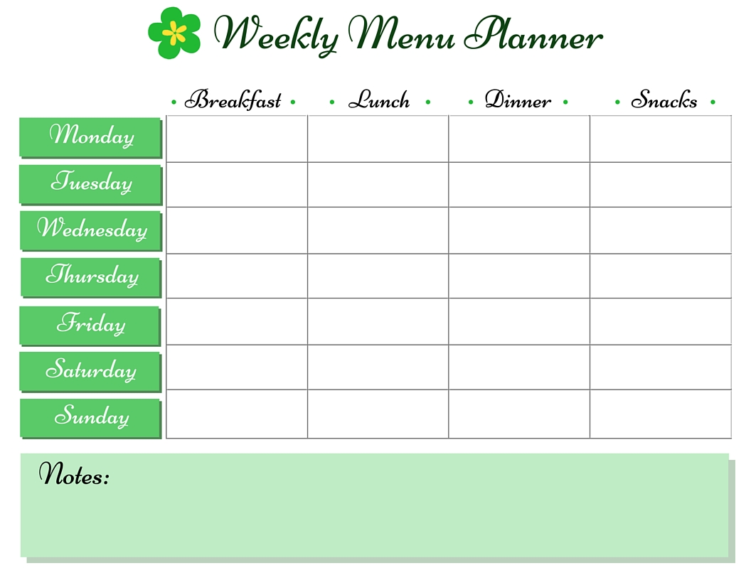 Printable Meal Planner {St. Patrick's Day}