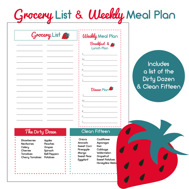 Shopping List and Meal Planner with Dirty Dozen