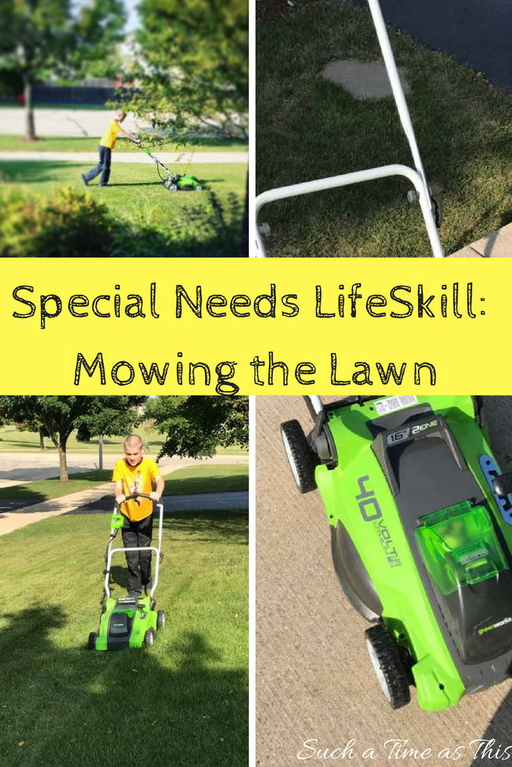 mowing the lawn with autism