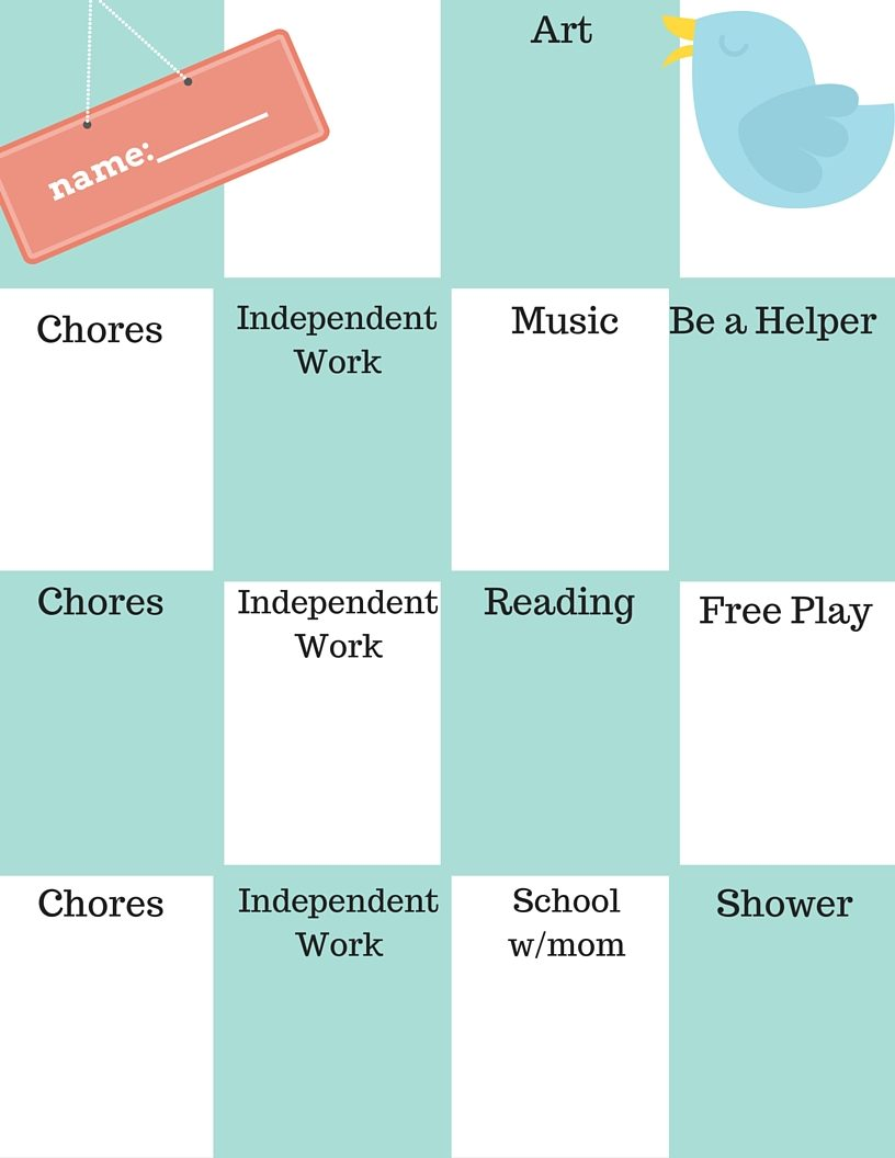 Student schedule (bird theme)