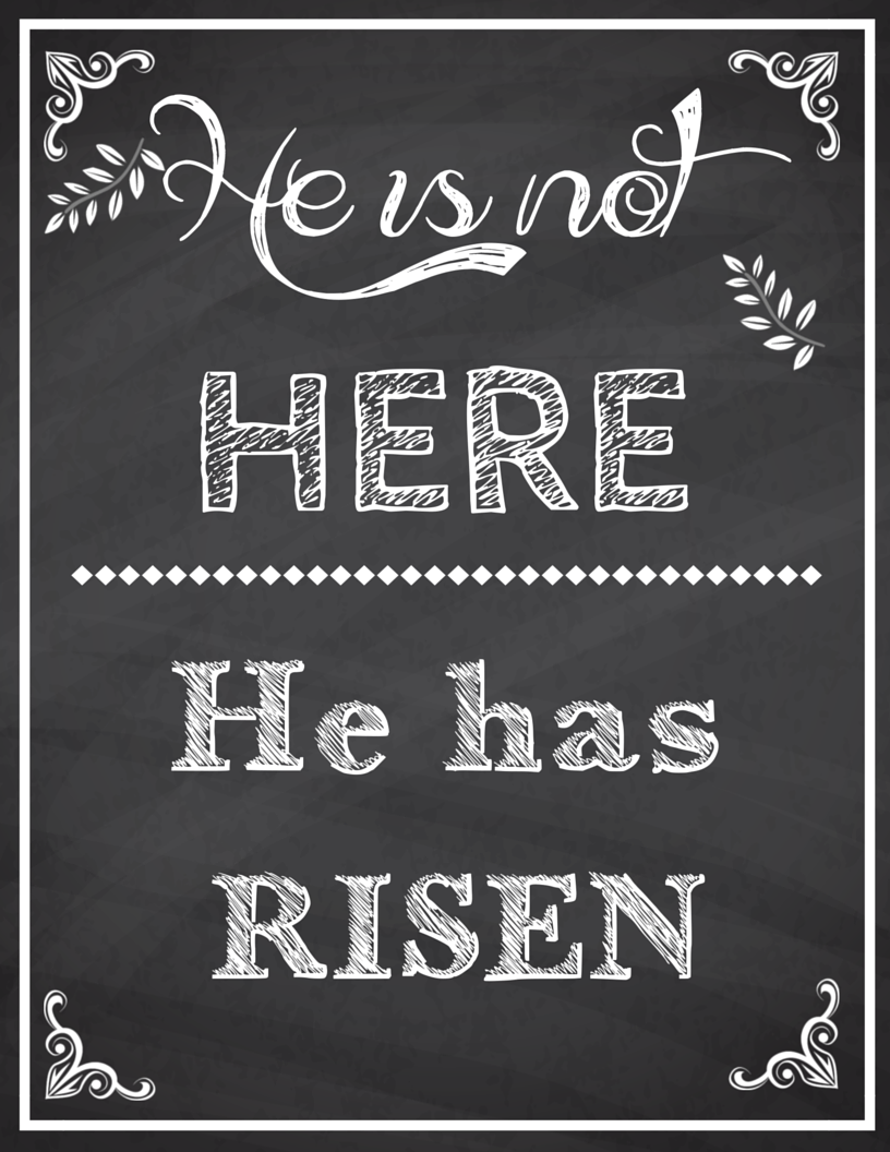 Chalk Board He is Risen Sign